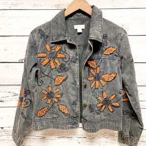 Embroidered Jean Jacket Size Small